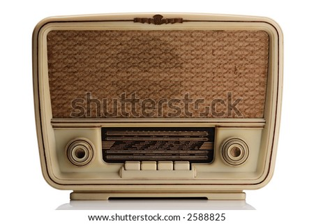vintage radio - isolated - stock photo