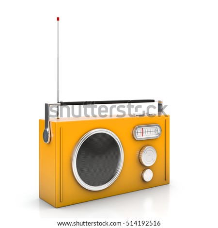 Vintage radio on white background