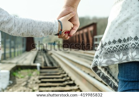vintage railroad, holding hands