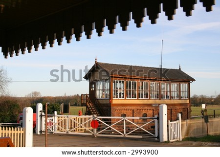 Vintage Railway Signal Box and Crossing - stock photo