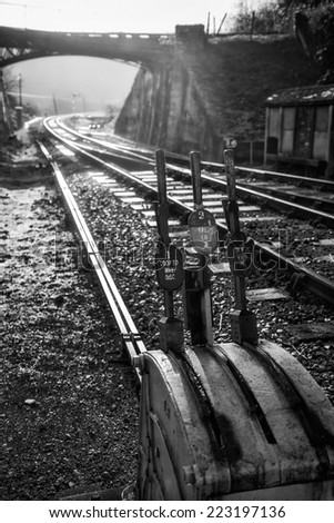Vintage railway signal point switch handles  black and white - stock photo