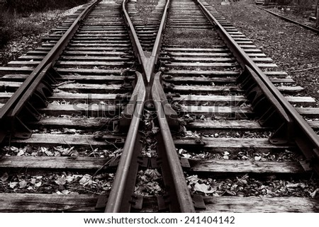 Vintage railway tracks in black and white