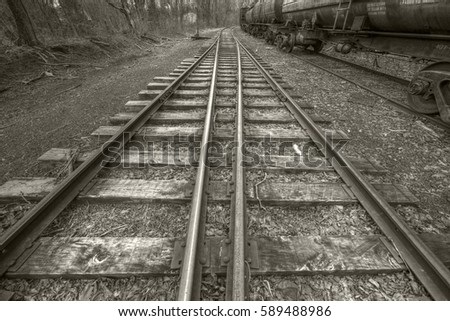 Vintage railway tracks in Pennsylvania, USA.