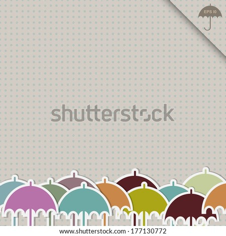 vintage rainy illustration with colorful umbrellas on the seamless dotted background in retro style raster version - stock photo