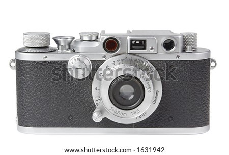 Vintage Rangefinder Camera 2 with clipping path - stock photo
