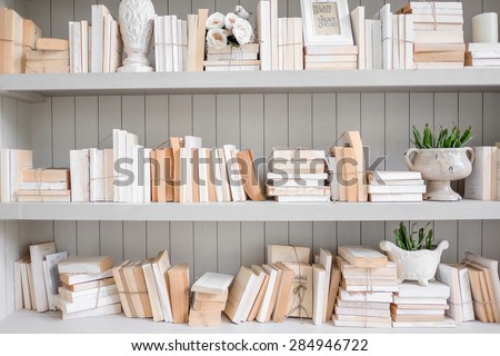 Vintage reading room with old books  - stock photo