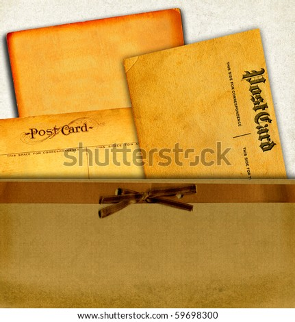 Vintage Real Postcards From Early 1900s And Blank Cardboard Collection In Envelope - stock photo