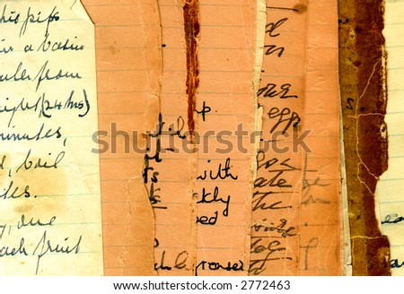 Vintage recipes from cookbook - stock photo