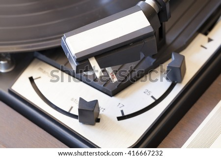 vintage record player macro close-up, stylus dials detail  - stock photo