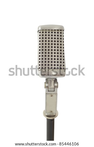 Vintage recording, announcing or singing microphone isolated on white - stock photo