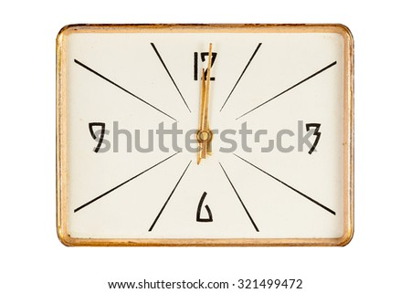 Vintage rectangle clock face in golden yellow frame showing twelve o'clock isolated over white background - stock photo