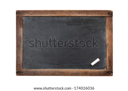Vintage rectangular chalkboard with chalk isolated on white background - stock photo