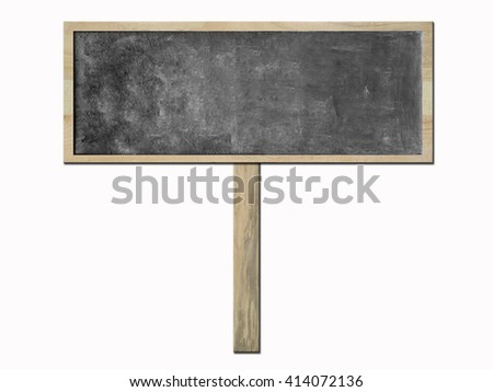 Vintage rectangular dark gray or black chalkboard/blackboard with wood frame and wood stand, dark gray or black label, dark gray or black color surface. on white background - stock photo