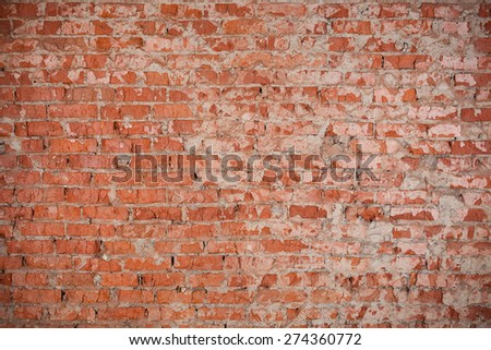 Vintage red brick wall texture for background - stock photo