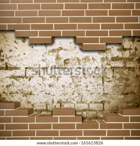 Vintage red brickwall with grunge wall in the background - stock photo