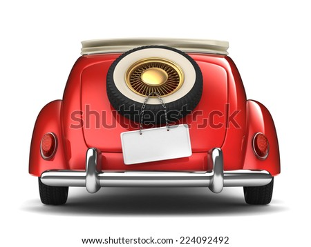 Vintage red bridal car - stock photo