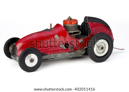 Vintage red car isolated on white background - stock photo