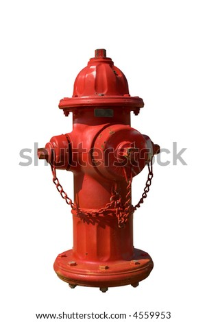 Vintage Red Fire Hydrant isolated over white - stock photo