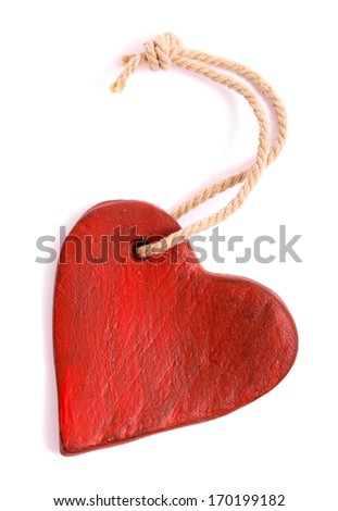 Vintage red heart isolated on white. Valentine's Day concept.