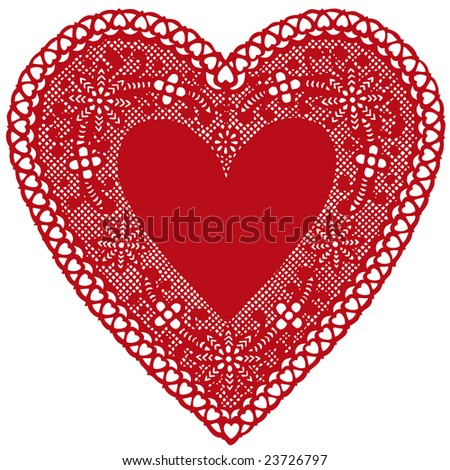 Vintage Red Lace Heart Doily. Antique design with copy space for Valentine's Day, Mother's Day, anniversary, birthday, Christmas, albums, scrapbooks, cake decorating. Isolated on white background.  - stock photo
