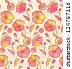 Vintage red, orange and yellow flowers  pattern. Vector version also exist. - stock vector