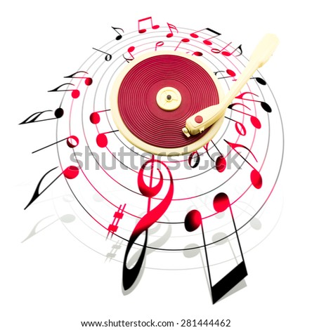 vintage red record player surrounded by musical notes - stock photo