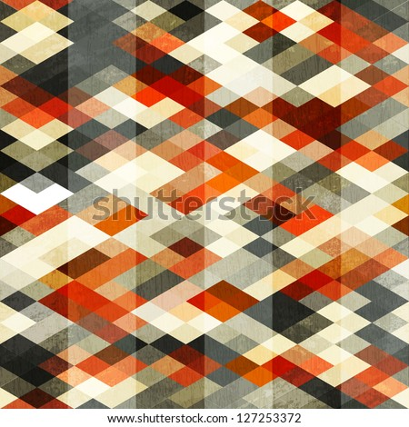 vintage red rhombus seamless pattern (raster version) - stock photo
