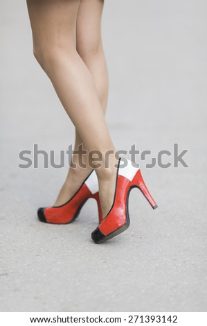 vintage red shoes - stock photo