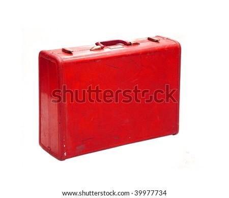 Red Vintage Suitcase Vintage Red Suitcase Stock