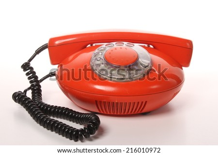 Vintage Red Telephone - stock photo