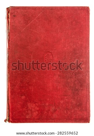 Vintage red textile book cover isolated on white background. Antique object - stock photo