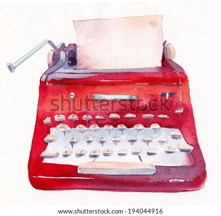 Vintage red typewriter - stock photo