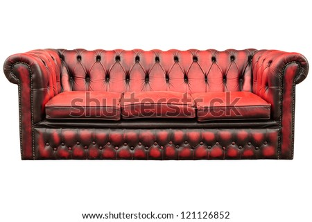 Vintage red with black sofa isolated on a white background - stock photo