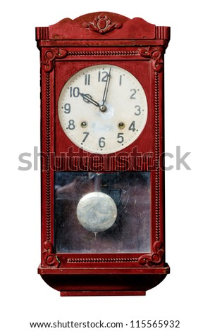 Vintage red wood trunk clock isolated on white. - stock photo