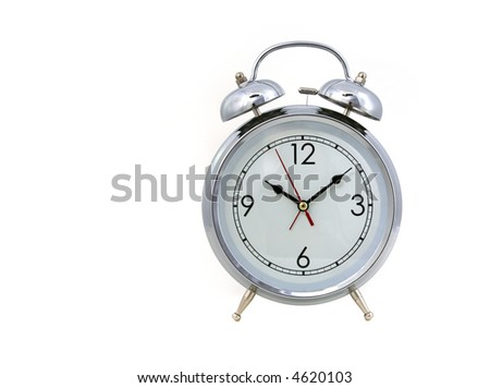 Vintage Replica Alarm Clock on White Background - stock photo