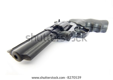 Vintage Replica Detective Service revolver on white background - stock photo