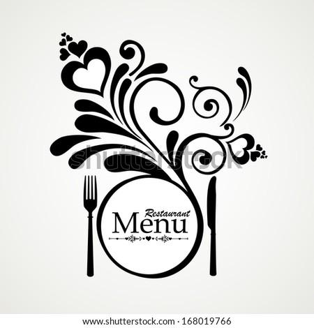 Vintage restaurant menu. Design elements isolated on White background. illustration  - stock photo