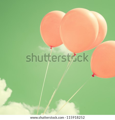 Vintage - Retro Balloons in the Sky - stock photo