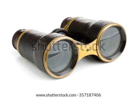 Vintage retro binoculars over white background - stock photo