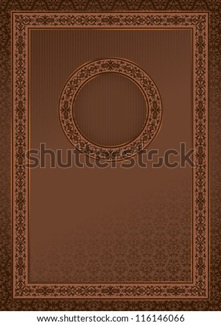 Vintage retro card on damask seamless background with a round frame in the center. Vector file in my portfolio.