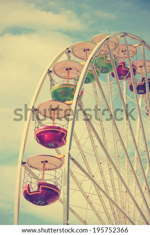 Vintage retro carousel, detail, colors - stock photo