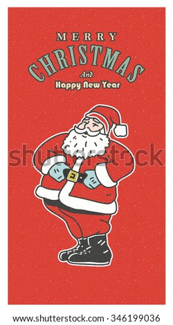 Vintage retro Christmas card. Old-fashioned Santa Claus smiling on the red background - stock photo