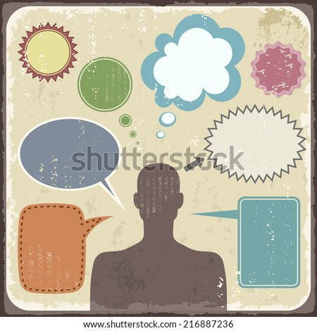 Vintage Retro Clipart of man with speech bubbles. Raster version - stock photo
