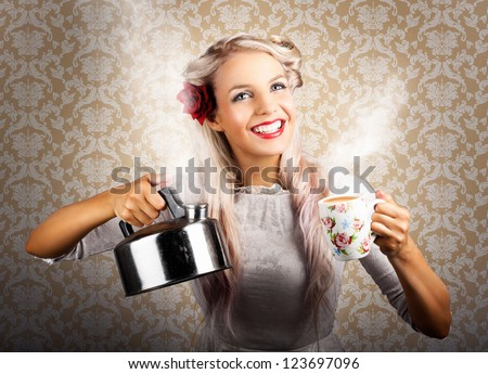 Vintage Retro Coffee Woman Holding Hot Tea Pot On Old-Fashioned Wallpaper - stock photo
