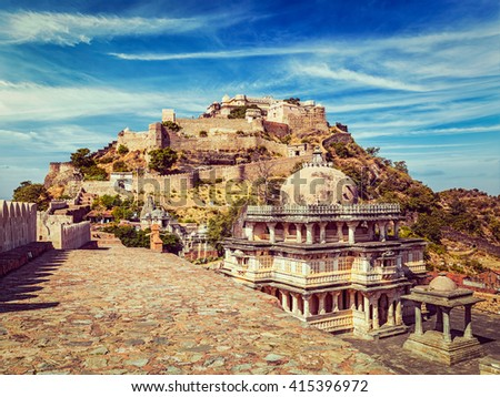 Vintage retro effect filtered hipster style image of Kumbhalgarh fort. Rajasthan, India