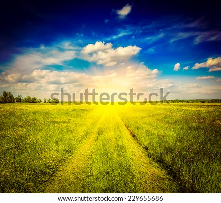 Vintage retro effect filtered hipster style image of spring summer background - rural road in  green grass field meadow scenery lanscape with blue sky - stock photo