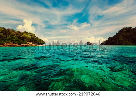 Vintage retro effect filtered hipster style travel image of tropical islands. Andaman Sea, Krabi, Thailand - stock photo