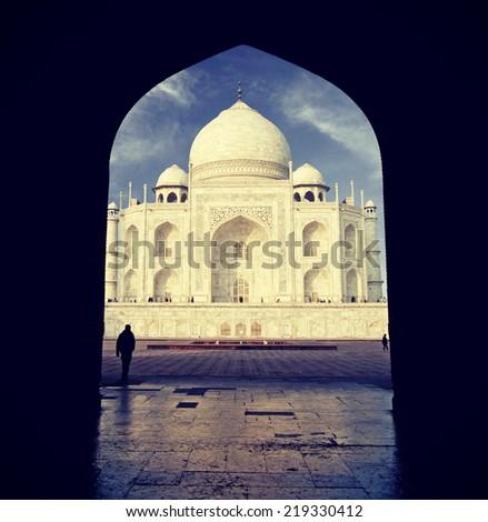 Vintage retro filtered picture of Taj Mahal, India. - stock photo