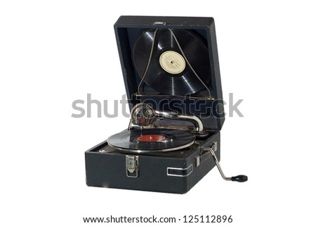 Vintage retro gramophone isolated on white background - stock photo