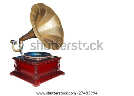 Vintage retro gramophone isolated on white background (clipping path included) - stock photo